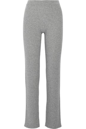 THEORY Ribbed cashmere-blend straight-leg pants