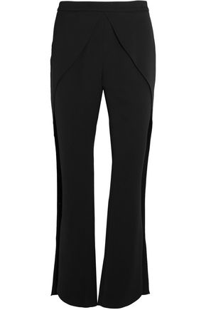 GOEN.J Wrap-effect crepe wide-leg pants