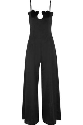 PAPER London Scalloped crepe de chine jumpsuit