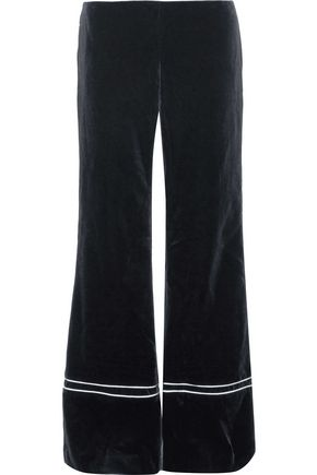 LA LIGNE Satin-trimmed velvet wide-leg pants