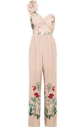 JOHANNA ORTIZ Marmara one-shoulder ruffled printed silk jumpsuit