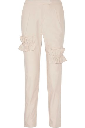 PASKAL Ruffle-trimmed cotton-blend straight-leg pants