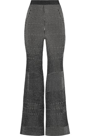 BY MALENE BIRGER Loveli metallic ribbed-knit wide-leg pants