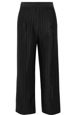 PROTAGONIST Cropped striped satin-jacquard wide-leg pants