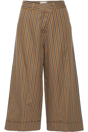 MONSE Striped cotton-blend twill wide-leg pants
