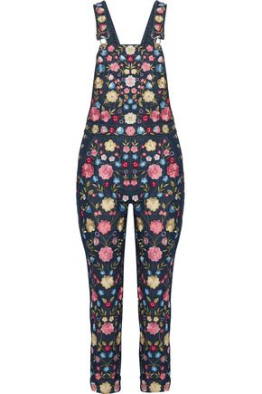 NEEDLE & THREAD Flower Foliage embroidered denim overalls