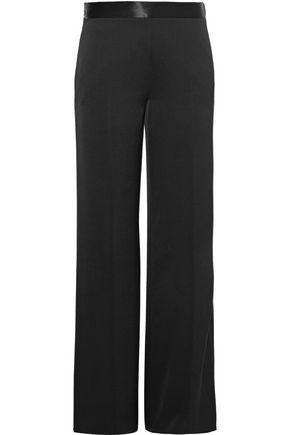 VICTORIA BECKHAM Satin-trimmed crepe de chine wide-leg pants