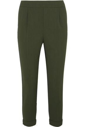 VINCE. Cropped washed stretch-crepe tapered pants
