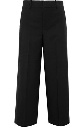 VINCE. Cropped wool-blend crepe wide-leg pants