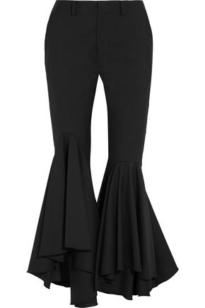 FACETASM Ruffled wool-crepe flared pants