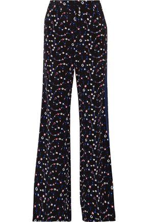 DEREK LAM 10 CROSBY Striped floral-print silk wide-leg pants