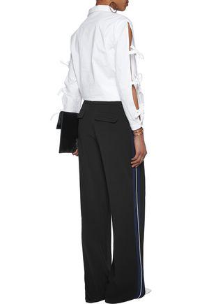 10 CROSBY DEREK LAM Grosgrain-trimmed crepe wide-leg pants