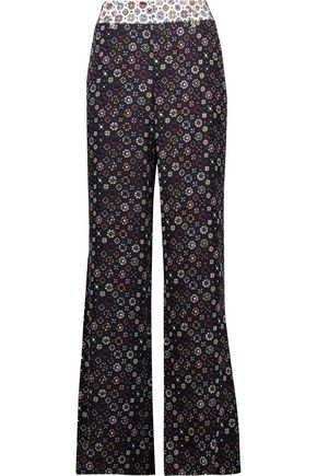 DEREK LAM 10 CROSBY Printed silk wide-leg pants ...