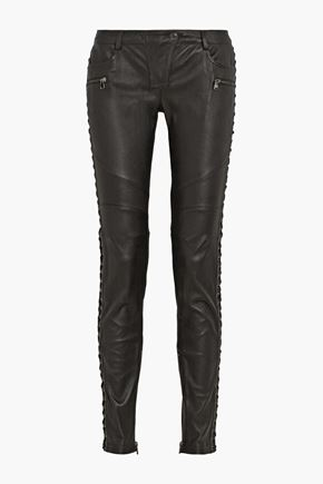 PIERRE BALMAIN Paneled leather skinny pants