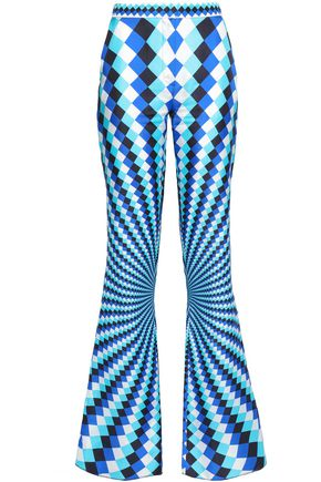 MARY KATRANTZOU Printed silk-twill straight-leg pants