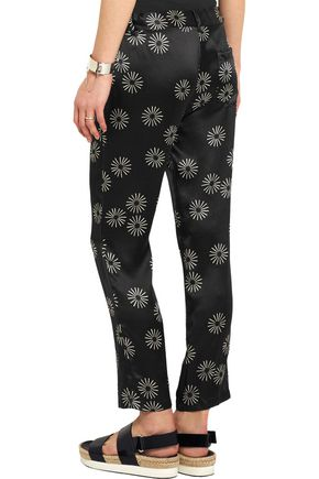 KÉJI Printed hammered-silk slim-leg pants