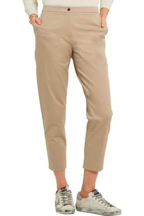 KENZO Cropped stretch-cotton twill straight-leg pants