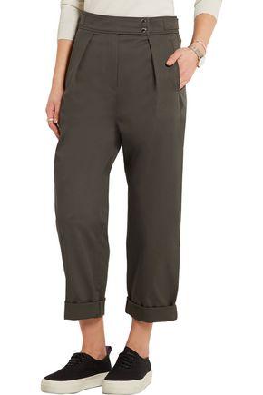 KENZO Cropped cotton-blend twill straight-leg pants