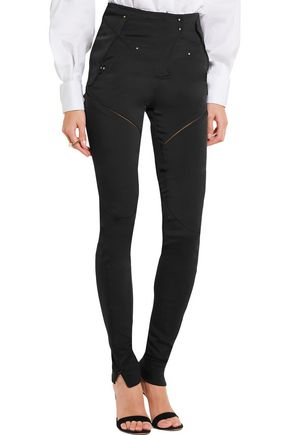 ESTEBAN CORTAZAR Cutout stretch-cady skinny pants