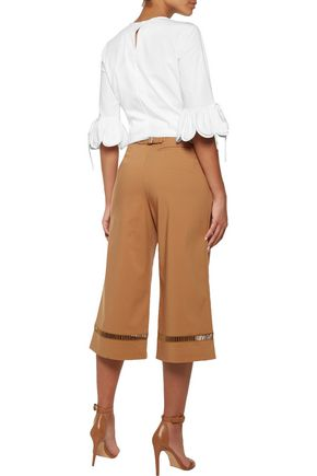 RAOUL Open knit-trimmed cotton-blend culottes