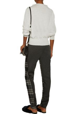 TOMAS MAIER Plaid wool and scuba-jersey tapered pants