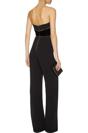 ROLAND MOURET Lyon embroidered velvet and crepe jumpsuit