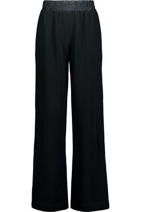 CINQ À SEPT Beatrix silk satin-trimmed crepe wide-leg pants
