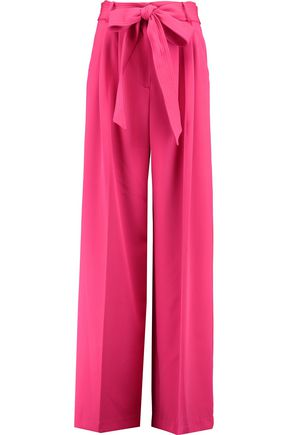MILLY Belted stretch-cady wide-leg pants
