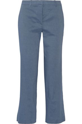 THEORY Hartsdale cropped stretch linen-blend straight-leg pants