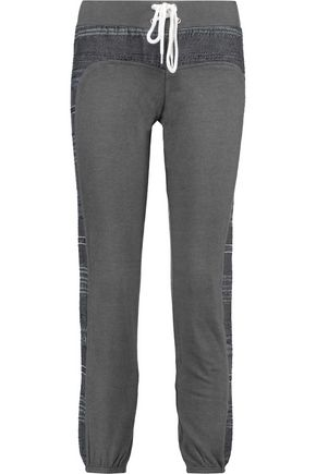 MONROW Striped cotton-blend paneled jersey track pants
