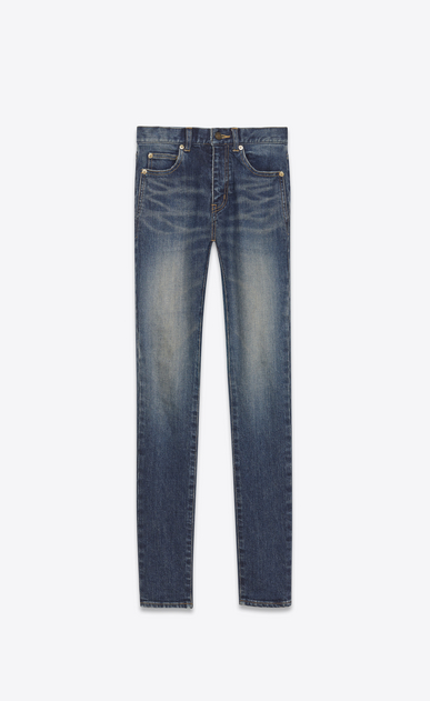 SAINT LAURENT Skinny fit Woman Mid-rise skinny jeans in faded blue denim a_V4