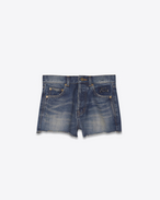 SAINT LAURENT Short Pants D Embroidered slim-fit shorts in faded blue denim f