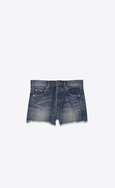 SAINT LAURENT Short Trousers Woman Embroidered slim-fit shorts in faded blue denim a_V4