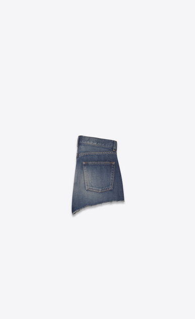 SAINT LAURENT Short Trousers Woman Embroidered slim-fit shorts in faded blue denim b_V4