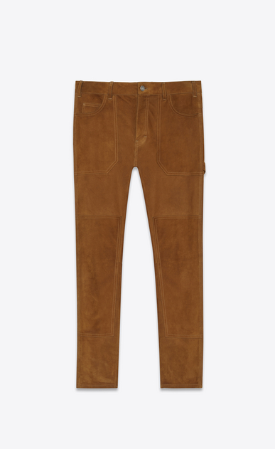 SAINT LAURENT Leather pants Woman Cargo pants in bourbon suede a_V4