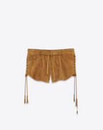 SAINT LAURENT Short Pants D Laced mini shorts in bourbon suede f