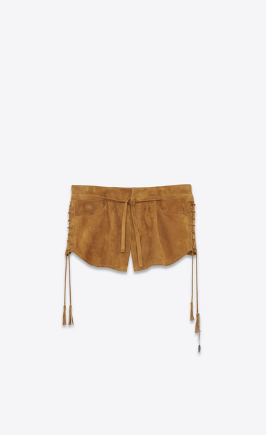 SAINT LAURENT Short Trousers D Laced mini shorts in bourbon suede a_V4