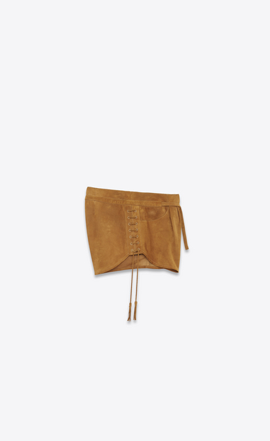 SAINT LAURENT Short Pants D Laced mini shorts in bourbon suede b_V4