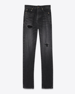SAINT LAURENT Slim fit D Embroidered torn slim-fit jeans in blue denim with mid-rise waist f