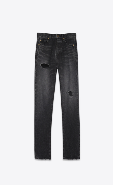 SAINT LAURENT Slim fit D Embroidered torn slim-fit jeans in blue denim with mid-rise waist a_V4