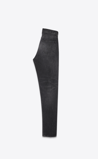 SAINT LAURENT Slim fit D Embroidered torn slim-fit jeans in blue denim with mid-rise waist b_V4