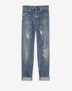 SAINT LAURENT Baggy D Repaired baggy jeans in blue denim f