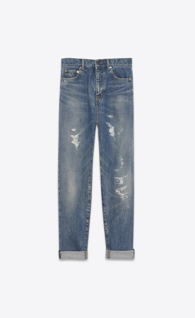 SAINT LAURENT Baggy Damen Baggy-Jeans aus blauem Denim mit Flicken a_V4
