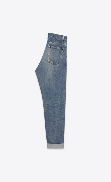 SAINT LAURENT Baggy Damen Baggy-Jeans aus blauem Denim mit Flicken b_V4