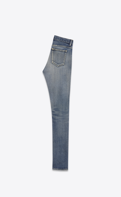 SAINT LAURENT Skinny fit Woman Mid-rise skinny jeans in faded blue denim b_V4