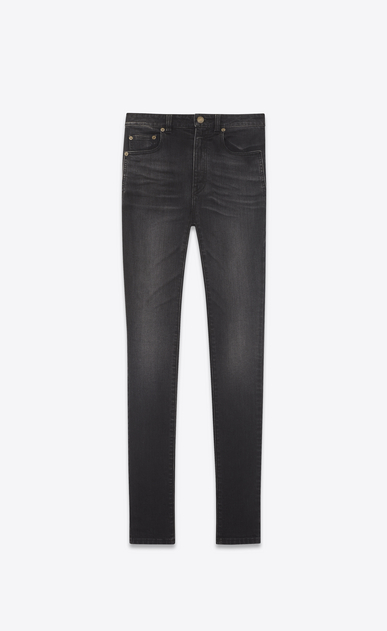 SAINT LAURENT Skinny fit Femme Jean skinny à taille haute en denim stretch noir a_V4