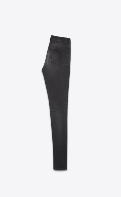 SAINT LAURENT Skinny fit Femme Jean skinny à taille haute en denim stretch noir b_V4