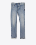 SAINT LAURENT Slim fit D Embroidered slim-fit jeans in blue denim, cropped at the waist f