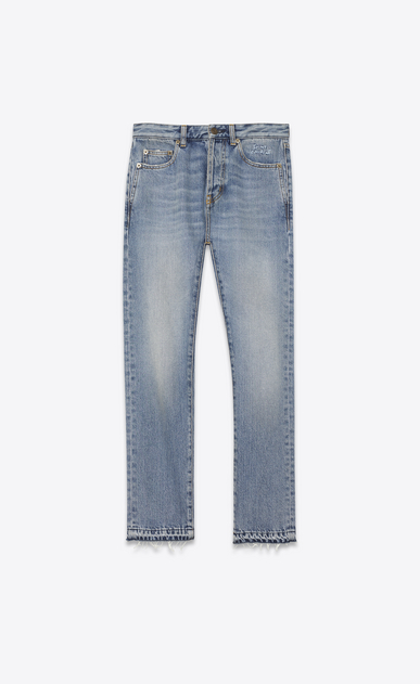SAINT LAURENT Slim fit D Embroidered slim-fit jeans in blue denim, cropped at the waist a_V4