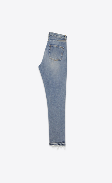 SAINT LAURENT Slim fit D Embroidered slim-fit jeans in blue denim, cropped at the waist b_V4